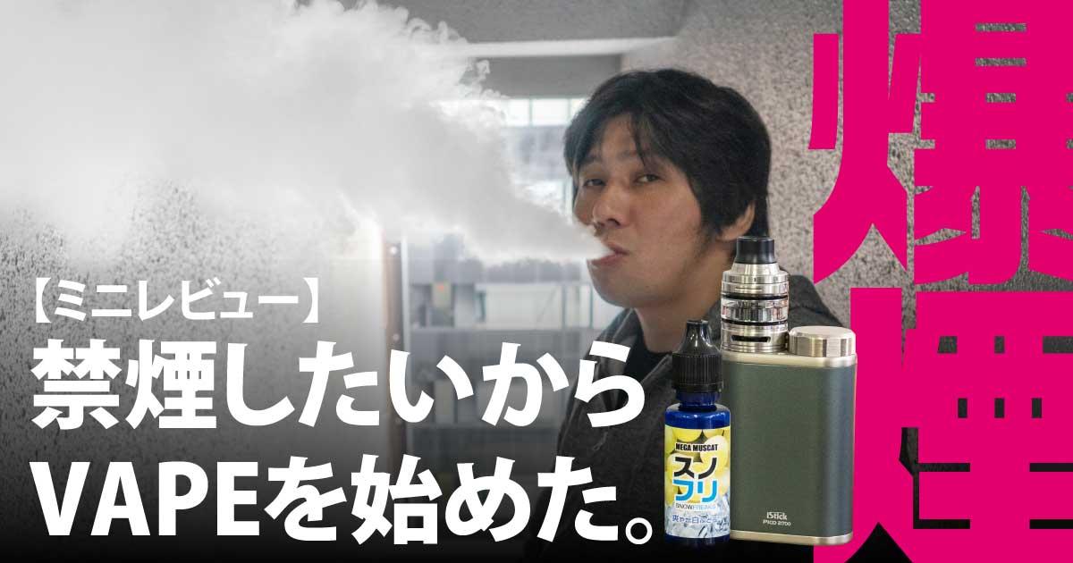 【ミニレビュー】スゲー爆煙にビックリ!禁煙したいからVAPE(ベイプ)を始めてみた。